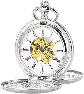 Double Open Skeleton Pocket Watch Mechanical Hand Wind Full Hunter Silver Fob Watch
