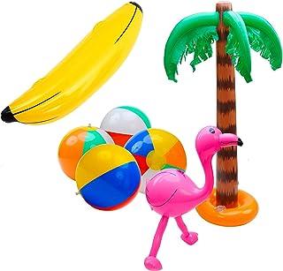 SIMUER 7 Pack Inflables Juguetes,Palmeras Inflables Rosado Flamencos Inflatable Banana Inflables Bolas de Playa Beach Bolas Fiesta en la Piscina en la Playa Juguetes Decoración del Partido