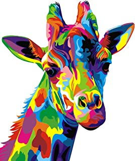 DIY Oil Painting Paint by Number Kit for Adults, Paint by Numbers for Kids Drawing with Brushes Paint, Suitable for All Skill Levels 40x50cm - Colorful Rainbow Giraffe Without Frame