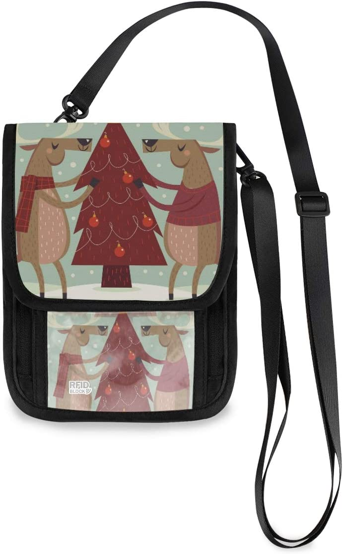 Travel Neck Wallet Christmas Tree Max 68% OFF Holder And Passport Reindeer Deluxe O