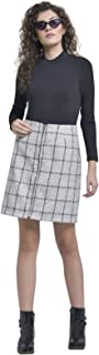 Martini Women Check Zipper Woolen Skirt (White, Size : 28-34)