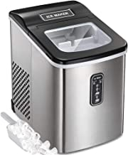 Tavata Countertop Portable Ice Maker Machine, 9 Ice Cubes Ready in 6 Mins, Makes 26 lbs of Ice per 24 Hours, Stainless Steel Ice Maker with Ice Scoop and Basket (Black-top Stainless Steel)