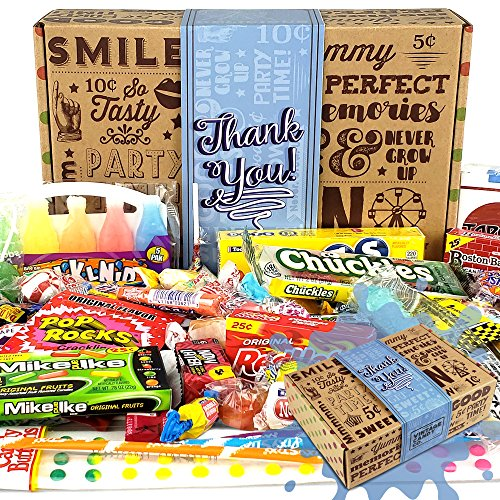 Vintage Candy Co. THANK YOU GIFT BASKET CANDY BOX For Men Or Women   SAY THANKS With A Unique Assortment of Nostalgic Decade Candy PERFECT Gratitude Gift for Women Men Girls Boys Coworkers Teens Etc.