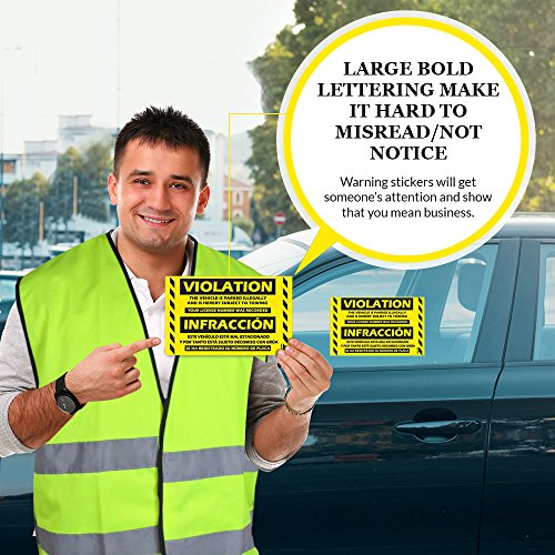 """Parking Violation Stickers Hard to Remove (Yellow) 100-Pack Bilingual Towing Messages for Warning Cars - Hard to Remove and Super Sticky 5"""" x 8"""" by MESS Photo #8"""