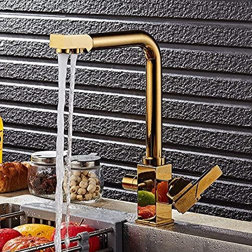 Grifo de latón macizo giratorio estilo cuadrado mezclador de fregadero agua potable grifo de cocina 3 vías filtro de agua grifo del fregadero