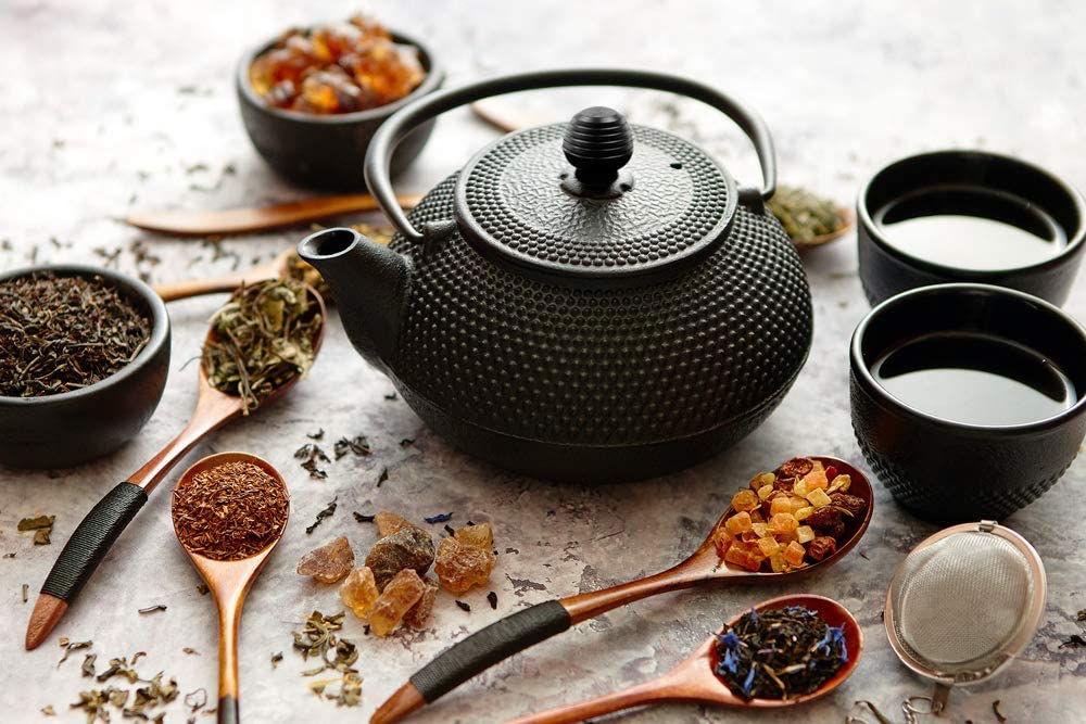 Deuba Teiera in ghisa dal Design Tradizionale Giapponese con Filtro da t/è in Acciaio Inossidabile teiere 1100 ml Nero