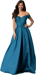 Women's Off The Shoulder Evening Gowns Long Satin Prom Dresses Formal Party Dress with Pockets