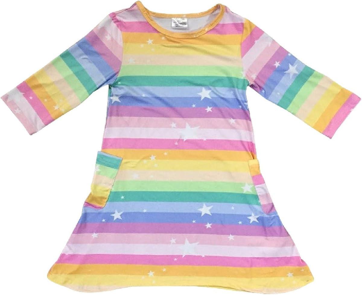 Little Girl Dress Kids Rainbow Pocket Stars Birthday Flower Girl Dress 2T-8