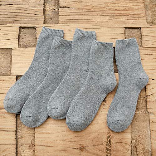 Aerlan HaustierbettMen's solid Cotton Socks, Casual Socks-A Light Gray 5 Pairs_One sizeKissen Flauschig