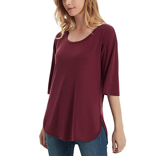 77443c183290 Perfashion Women's Elbow Sleeve Loose Summer Elegant Shirt Tunic Blouse