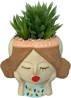 Orra Shop Cute Women Succulent Pot - Ceramic Cactus Planter with Drainage Hole for Flower, Small Plant, Herb - Lady Face F...