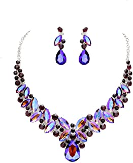Blue Ice, Affordable Wedding Jewelry Women Elegant Ab Purple Crystal Statement Chunky Silver Necklace Jewelry Earrings set
