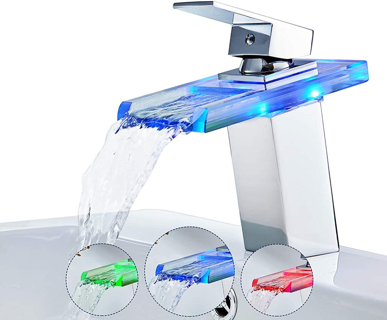 Auralum 3 Colour LED Glass Waterfall Mixer Tap,Bathroom Basin Faucet with Brass Body Monobloc Handle Hot and Cold Water Mixer, Polished Chrome.