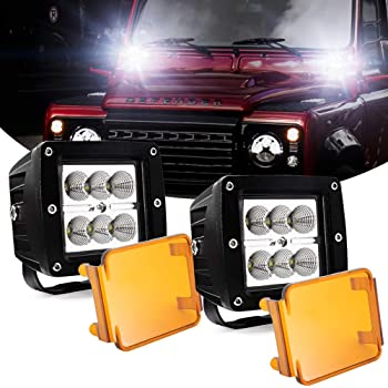 Amazon Com 3 Led Pods Light Bar Cube Amber Led Spotlight Off Road Fog Lights Driving Work Lights 24w 12v 24v For Cars Trucks Jeep Boats Automotive