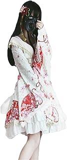 [サユム]レディーズ オタク ロリータ 日系 ワンピース ドレス 和風 ふわふわ 振袖 コーディネート 前開き オーペンショルダ 洋服 華麗 ビューティフル