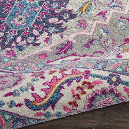 Nourison PSN20 Passion Persian Colorful Light Grey/Pink Area Rug 8' X 10'
