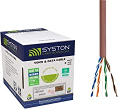 Cat5e Bulk Cable 500ft Pure Copper, Outdoor / Indoor Heat Resistant, Solid 350Mhz, 24AWG, UTP, Riser Rated CMR, Tan by Syston Cable