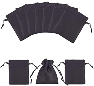 "PH PandaHall 50pcs Black Satin Gift Bag Drawstring Pouch Bags Wedding Favors Bridal Shower Candy Jewelry Bags, 3""x 4"""