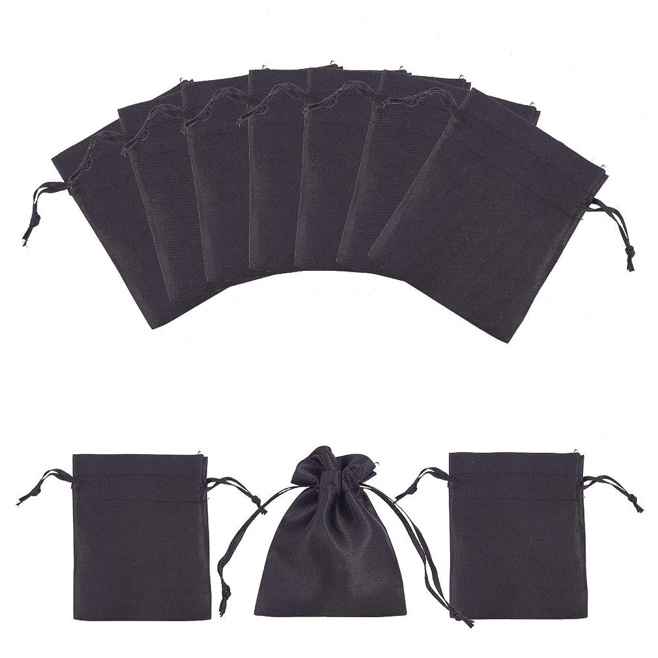 "PH PandaHall 50pcs Black Satin Gift Bag Drawstring Pouch Bags Wedding Favors Bridal Shower Candy Jewelry Bags, 3""x 4"""