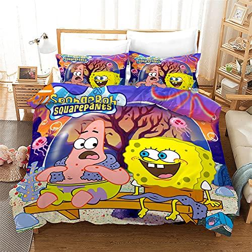AZJMPKS Spongebob - Juego de ropa de cama infantil, diseño de Bob Esponja anime, funda de edredón, funda de almohada, individual, microfibra, adecuado para niños (A2,155 x 220 cm + 75 x 50 cm x 2)