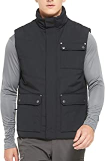 Men's Insulated Padded Vest Winter Warm Quilted Gilet Puffer Vest with 10 Pockets, Black