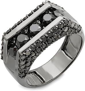 Dazzlingrock Collection 3.60 Carat (ctw) 14K Gold Round Black Rhodium Plated 5 Stone Black Diamond Mens Hip Hop Ring