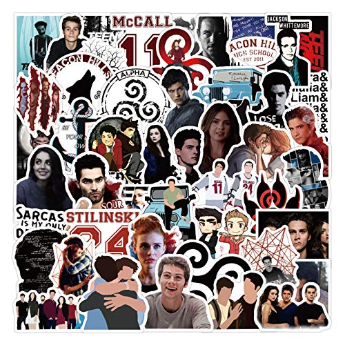 TV Show Teen Wolf Stickers 50pcs Vinyl Water Proof TV Show Decal for Laptop Skateboard Bumper Cars Computers Cool Teens Adults Decorations
