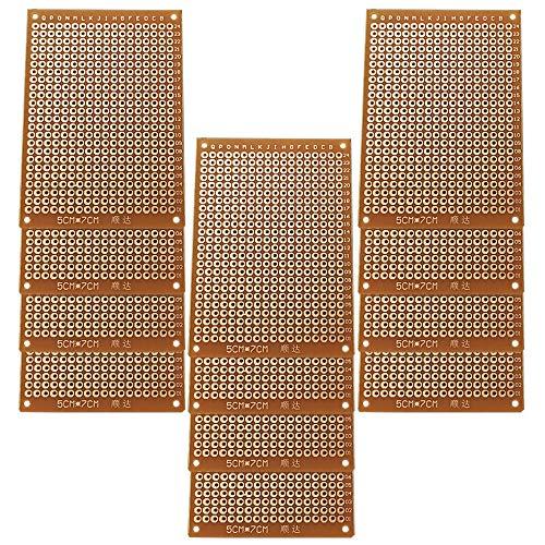 GTIWUNG 12 Stück PCB Board Prototype Lochrasterplatte Kit, Universal-Leiterplatten,5 x 7cm Leiterplatte Universal PCB Prototyp Board für Prototyping und elektronische Erstellung von Projekten
