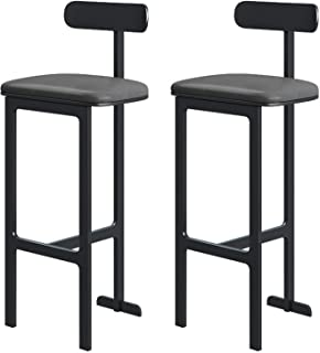 Pair of Cuban Bar Stools Set with Backrest, Barstools Counter Bar Chairs for Breakfast Bar Kitchen and Home, More Color/Si...