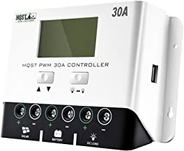 HQST 30A PWM Negative Ground Solar Charge Controller 12V/24V Battery Charge Regulator with LCD Display and 5V 1A USB Charger Output for Mobile Phones, Tablets, Speakers