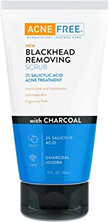 AcneFree Blackhead Removing Exfoliating Face Scrub with 2% Salicylic Acid and Charcoal Jojoba - Daily Wash, Skin Care Face...