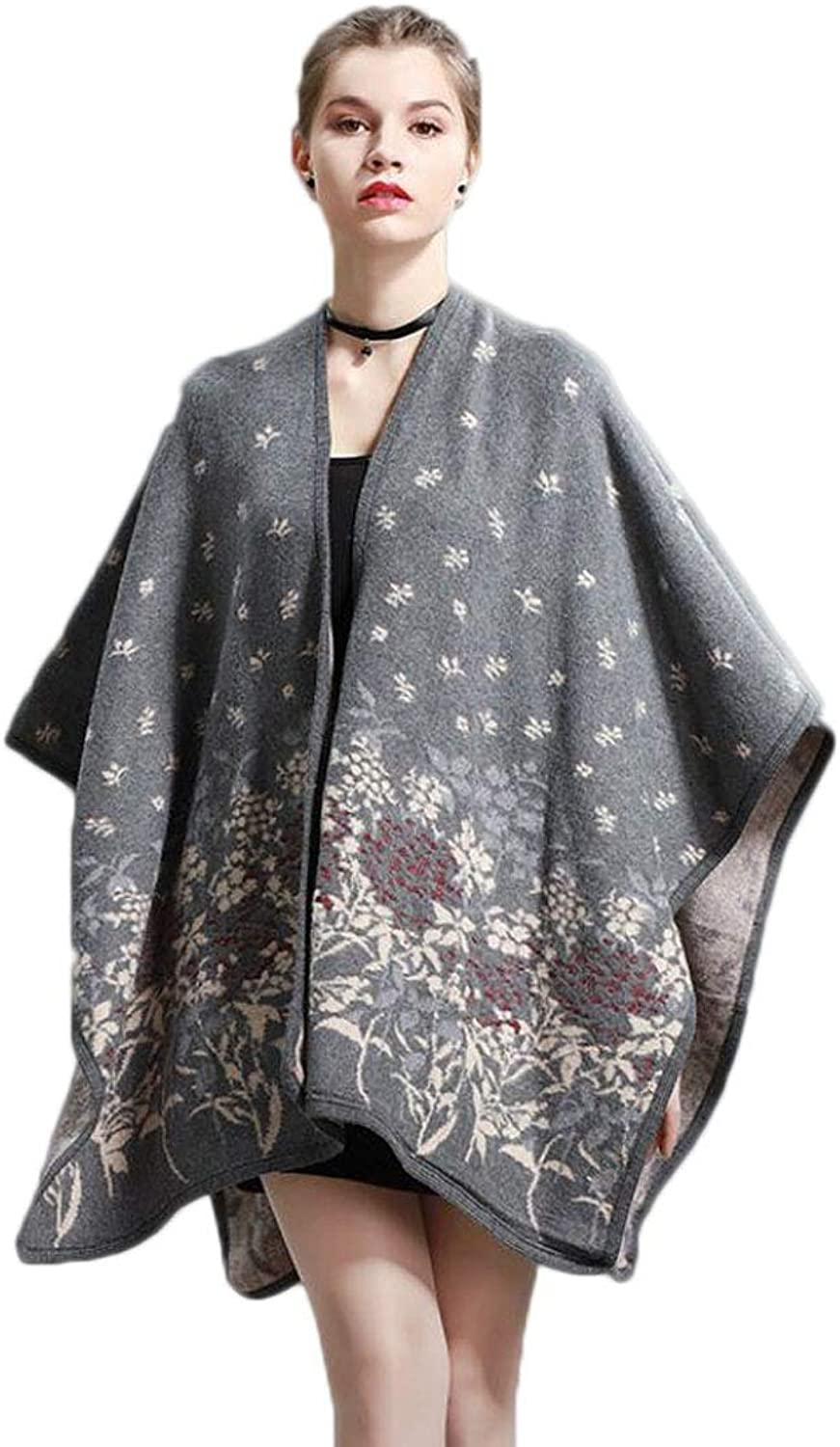 Autumn and Winter New Scarf Cloak Loose Shawl Ladies VNeck Knit Cardigan (color   M, Size   OneSize)