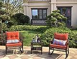 DECMICO Outdoor Rattan Wicker Rocking Chair 3 Pieces Patio Conversation...