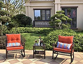 DECMICO Outdoor Rattan Wicker Rocking Chair 3 Pieces Patio Conversation Furniture Bistro Sets with Side Table and Cushions for Porch Garden and Balcony