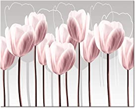 Visual Art Decor Pink Grey and White Abstract Floral Canvas Wall Art Pictures Beautiful Flowers Painting Printed on Canvas for Living Room Office Wall Decoration Ready to Hang (04 Pink, 16