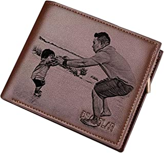 Personalized Mens Custom Photo Wallet Leather Wallet Mens Gift Father Day Gift(Deep Brown Double Side)