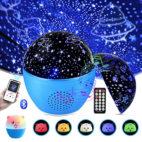 Star Projector Light for Bedroom, MOSUO Baby Night Light Starry Sky Ocean Wave Projector Light Kids Night Light with Bluetooth & Remote Control, 4 Timer 16 Colorful Lights, Toys for Girls & Boys