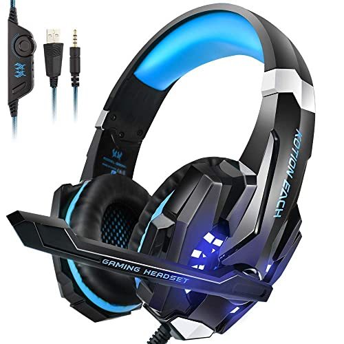 49e53cb6c41 PS4 Headset, INSMART PC Gaming Headset Over-Ear Gaming Headphones with Mic  LED Light