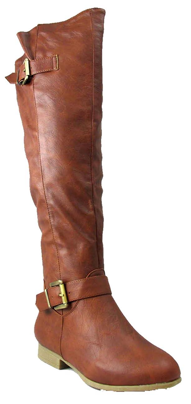 トラフィック拮抗王室[Top Moda] Coco 28レディースKnee High Buckle Riding Boots Tan