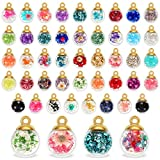 88 Pieces 16 mm Mixed Glass Ball Pendants Crystal Glass Ball Charm DIY jewelry Making Pendants with Rhinestone Bead, Resin Drill and Dried Flowers for DIY Craft Necklace Bracelet Jewelry Supplies
