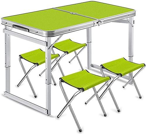 Guoyajf Table De Camping Pliante en Aluminium Innovations avec Tabourets, Conception pour Trou De Parapluie De Bureau, Convient à Toutes Les Activités De Plein Air Telles Que Camping, Barbecue