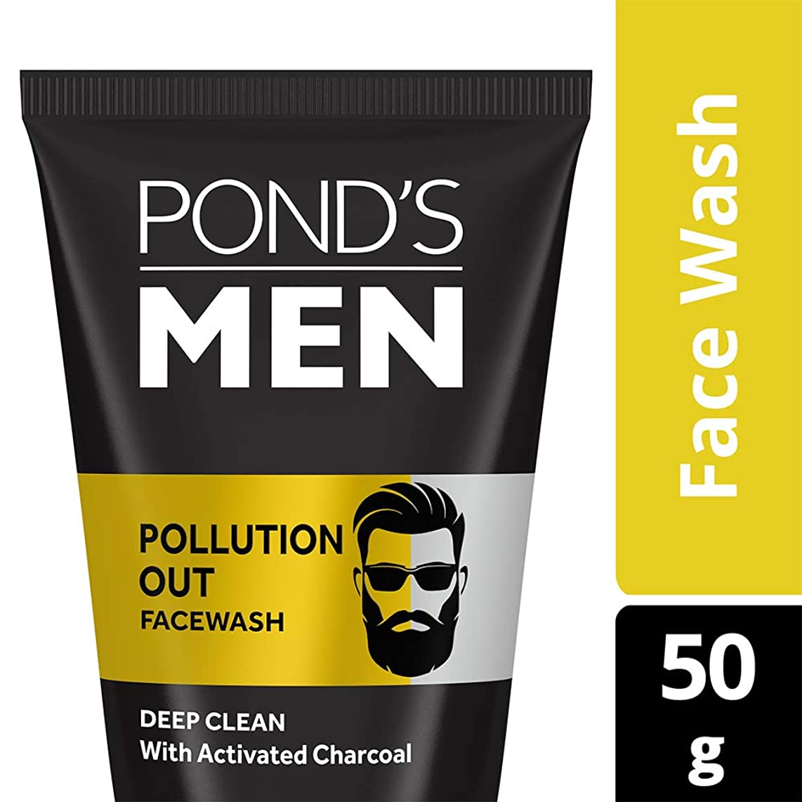 四回熟達したスタジアムPond's Men Pollution Out Activated Charcoal Deep Clean Facewash, 50 g