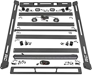 "Rough Country Roof Rack System (fits) 2007-2018 Jeep Wrangler JK | 50"" LED Light Bar (2) Cubes 