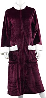 Shop LC Delivering Joy Plum Cozy Soft Long Flannel Robe with Zipper and Sherpa at Collar 2X 100% Polyester