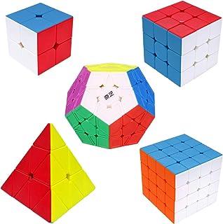 Maomaoyu Speed Cube ,Cube de Vitesse Pack de 5,Ensemble de Cubes 2x2 3x3 4x4 Megaminx Pyraminx Pyramide Cube(sans Autocoll...