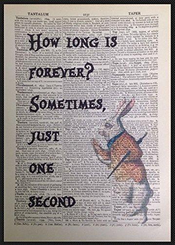 Parksmoonprints Alice im Wunderland How Long Is Forever-Zitat, Vintage-Wörterbuch-Druck