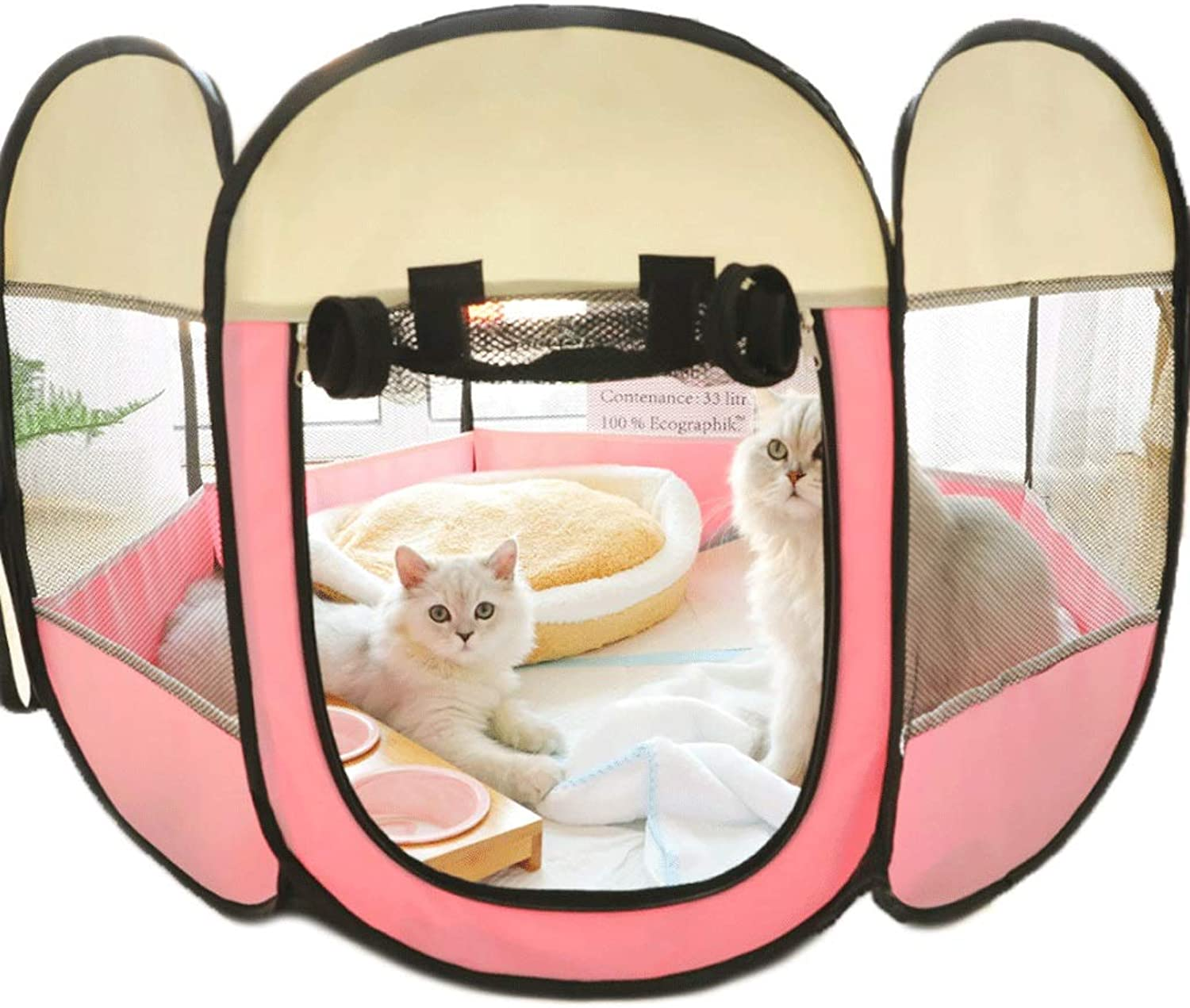 Hongyan Pet Beds Closed Pet Pregnancy Delivery Room Grid Cloth Clean Skylight Cat Nest Tent Breathable Antimosquito Pet Kennel A+ (Size   75x75x45cm)