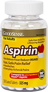 GoodSense Aspirin Pain Reliever & Fever Reducer (NSAID), 325 mg Coated Tablets, Temporarily Relieves Headache, Muscle Pain, Toothache, Menstrual Pain, Pain and Fever of Colds, Minor Pain of Arthritis