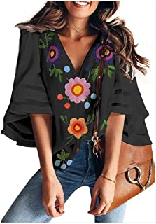 S-Fly Women's V Neck Shirt Casual Floral Print Loose Fit Bell Sleeve Blouse Tops Shirts