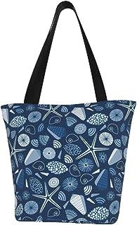 Lesif Einkaufstaschen, klassische blaue Muscheln, Segeltuch, Schultertasche, Einkaufstasche, wiederverwendbar, faltbar, Reisetasche, groß und langlebig, robuste Einkaufstaschen